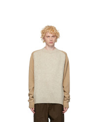 Jil Sander Brown And Beige Panelled Sweater