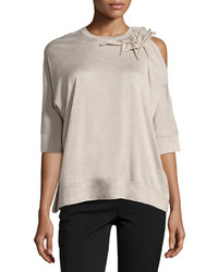 Brunello Cucinelli Cashmere Blend Asymmetric Sweater Beige