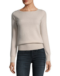 Neiman Marcus Cashmere Collection Classic Cashmere Crewneck Sweater Plus Size