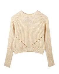 ChicNova Beige Cutout Pullover Knitwear