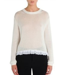 Miu Miu Cotton Eyelet Hem Sweater