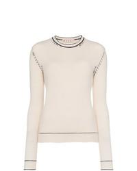 Marni Cream Cashmere Jumper With Contrasting Stitches