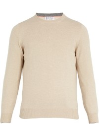 Brunello Cucinelli Crew Neck Wool Bend Knit Sweater