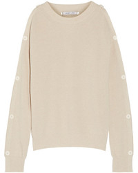 Helmut Lang Cutout Button Detailed Cotton And Cashmere Blend Sweater Beige