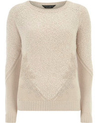 Dorothy Perkins Nude Lace Panel Knitted Jumper