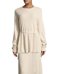 Elizabeth and James Gisella Slouchy Rib Knit Crewneck Belted Sweater
