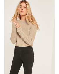 Missguided Nude Cropped Chenille Crew Neck Sweater
