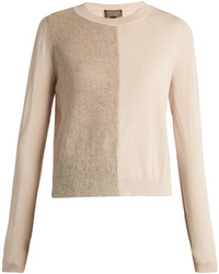 Giambattista Valli Mohair And Wool Blend Contrast Knit Sweater