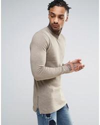 Asos Muscle Fit Longline Sweater With Side Zips In Beige