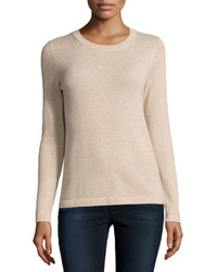 Neiman Marcus Cashmere Basic Pullover Sweater Oatmeal