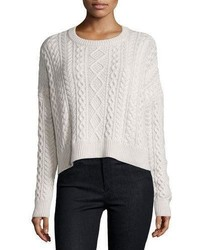 Neiman Marcus Cashmere Collection Cropped Boxy Fisherman Crewneck Sweater