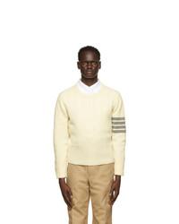 Thom Browne Off White Shetland Wool 4 Bar Crewneck Sweater