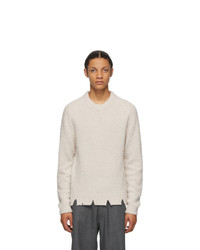 Maison Margiela Off White Wool Oversized Destroyed Sweater