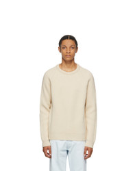 Maison Margiela Off White Wool Rib Knit Sweater