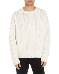 The Kooples Oversize Distressed Wool Blend Sweater