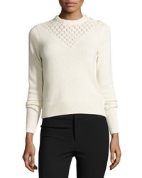 Rebecca Taylor Pointelle Yoke Pullover Sweater Ecru