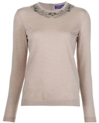 Ralph Lauren Collection Embellished Crew Neck Sweater
