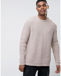 Asos Relaxed Fit Sweater In Beige