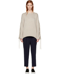See by Chloe See By Chlo Beige Lace Up Sweater