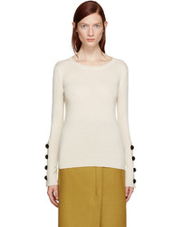 See by Chloe See By Chlo Beige Button Sleeve Sweater