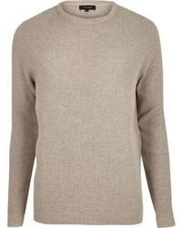 River Island Stone Beige Textured Waffle Sweater