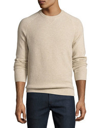 Tuck stitch cashmere crewneck sweater medium 5359650