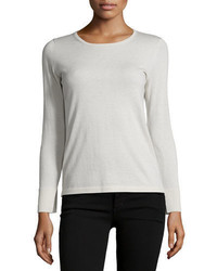 Neiman Marcus Cashmere Collection Cashmere Crewneck Top Wsplit Cuffs