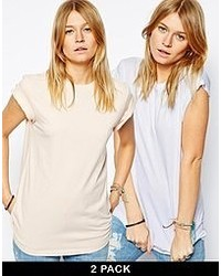 Asos Boyfriend T Shirt With Roll Sleeve 2 Pack Save 20%