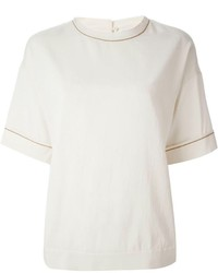 Brunello Cucinelli Embellished Trim T Shirt Blouse