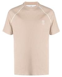 Brunello Cucinelli Logo Embroidered Cotton T Shirt