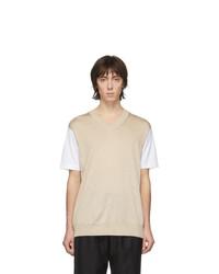 Junya Watanabe White And Beige Thin Knit Jersey T Shirt