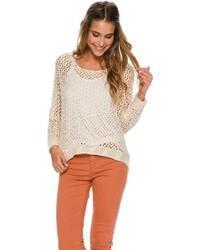 Beige Crochet Crew-neck Sweater