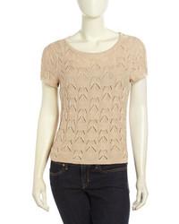 Neiman Marcus Short Sleeve Floral Crochet Sweater Soft Beige
