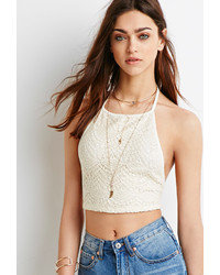 818eae56f9d55 ... Forever 21 Crocheted Halter Crop Top