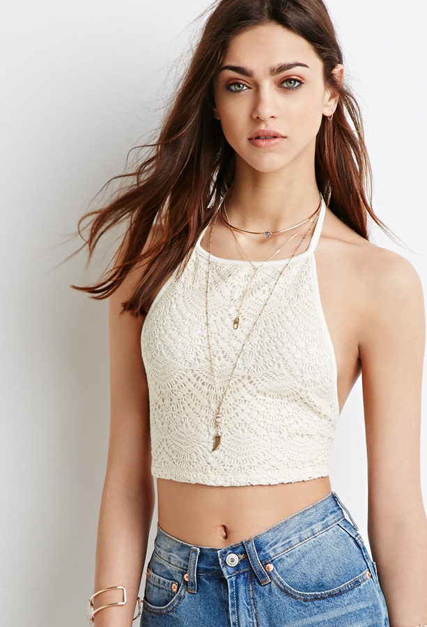 Forever 21 Crocheted Halter Crop Top 15 Forever 21 Lookasticcom