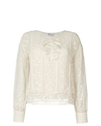RED Valentino Crochet And Sheer Panel Blouse
