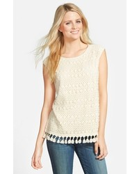 Chaus Crochet Lace Top With Fringe