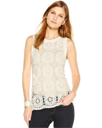 Vince Camuto Mixed Media Crochet Top