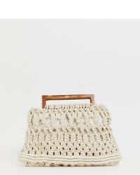 Glamorous Crochet Grab Bag With Wooden Handles