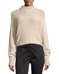Cropped mock neck oversized sweater beige medium 3698170