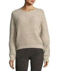Cropped saddle cashmere pullover sweater medium 4983497