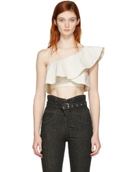 Isabel Marant Ecru Hayo Single Shoulder Crop Top
