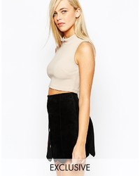 Fashion Union Jersey Rib Roll Neck Top
