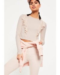 Missguided Cream Front Frill Crop Top