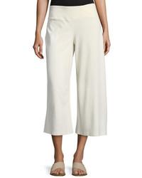 Eileen Fisher Cotton Blend Ponte Wide Leg Pants Petite