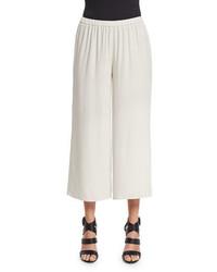 Eileen Fisher Wide Leg Georgette Cropped Pants Plus Size