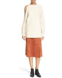Tibi Shoulder Cutout Side Button Sweater