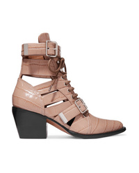 Chloé Rylee Cutout Croc Effect Leather Ankle Boots