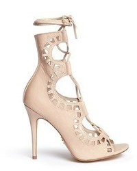 Windsor Smith Gillie Perforated Leather Lace Up Sandal Boots