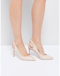 Jesamin nude patent bow cutout pumps medium 4419974